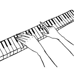 piano keyboard and pianist hands isolated on white vector image
