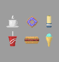 Pixel art fast food icons vector