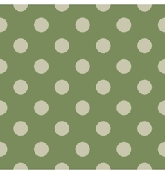 Polka dot seamless pattern on green background vector image