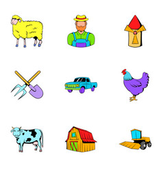ranch icons set cartoon style vector image