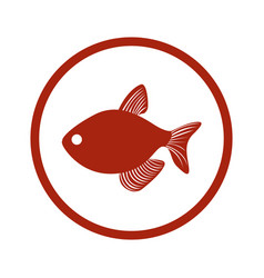 Red circular border with fish vector