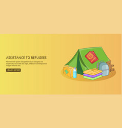 Refugees kit banner horizontal man cartoon style vector