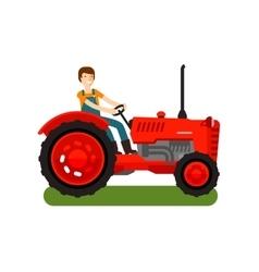 Retro farm tractor icon cartoon vector