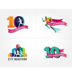 Running marathon icon and symbol with number vector image