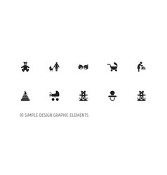 set of 10 editable kid icons includes symbols vector image vector image