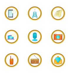 social media icon set cartoon style vector image