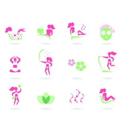 spa wellness icons vector image vector image