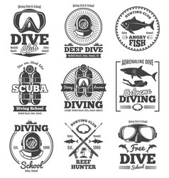Underwater scuba diving club vintage vector