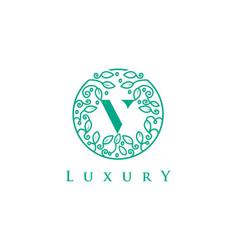 v letter logo luxurybeauty cosmetics logo vector image vector image