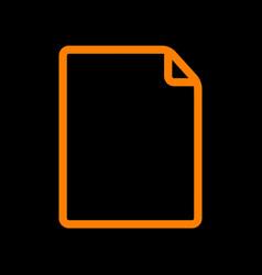 vertical document sign orange icon vector image