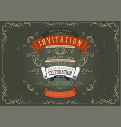 vintage invitation poster background vector image