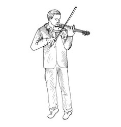 young man playing the violin violinist vector image