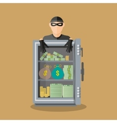 Burglar thief in mask on the big opened safe vector