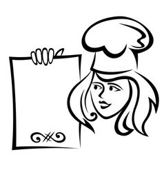 Restaurant chef with menu paper vector image