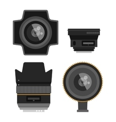 Photo optic lenses set vector