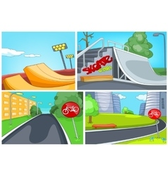 Cartoon set of skatepark and bike lane backgrounds vector