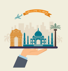 Welcome to india attractions of india on a tray vector