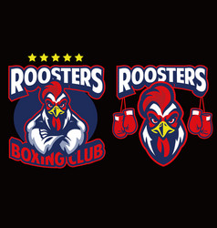 chicken mascot of boxing club vector image