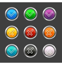 Check mark Yes No like buttons vector image