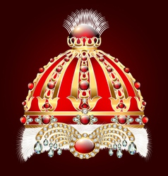 Royal golden crown with an ornament vector