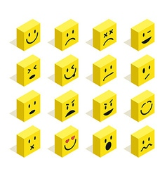Flat isometric emoticons set vector