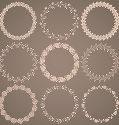 Round hand drawn floral pattern wreaths vector