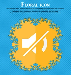 Mute speaker sign icon sound symbol floral flat vector