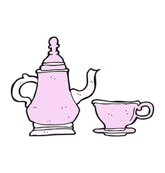 Comic cartoon coffee pot and cup vector