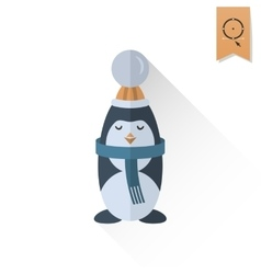 Christmas penguin retro color vector