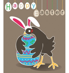 Chicken rabbit easter egg vector