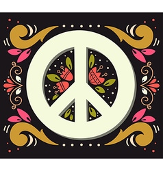 Peace symbol with flowers and decoration elements vector