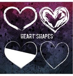 Set of four white heart shapes vector