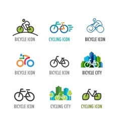 Set of bicycle icons and symbols vector