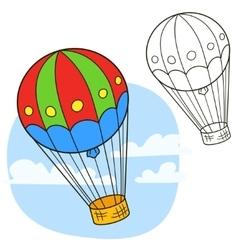 Air balloon coloring book page vector