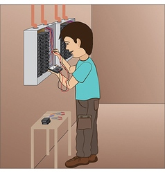 An electrician technician troubleshooting in vector