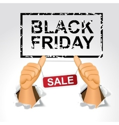 Black friday sale and man giving the thumbs up vector
