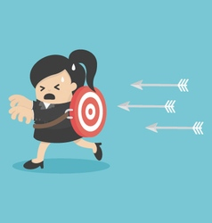 Businesswoman running arrows vector