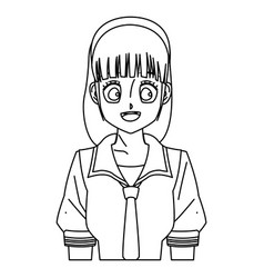 cartoon girl anime character outline vector image vector image