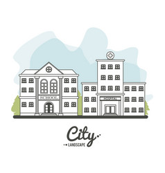 city landscape school hospital building tree line vector image