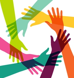 Creative Colorful Hand Connection with Teamwork vector image vector image