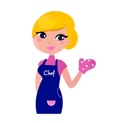 cute woman chef or mother isolated on white vector image vector image