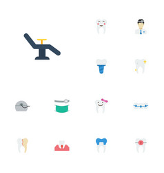 flat icons furniture orthodontist halitosis and vector image vector image