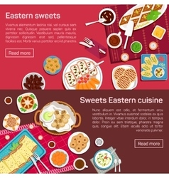 flat of eastern sweets dishes vector image vector image