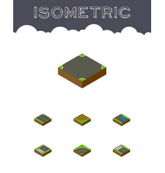 Isometric road set of footpassenger strip vector