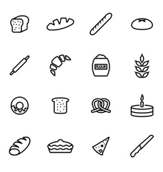 line bakery icon set vector image