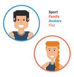 man and woman - sport family flat avatars vector image