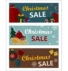 Merry christmas sale tags in retro style vector