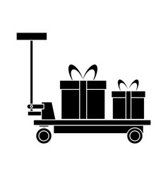 platform trolley cart delivery with gift boxes vector image