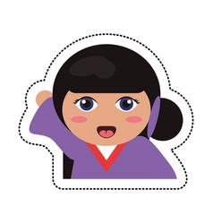 Portrait kokeshi girl character vector