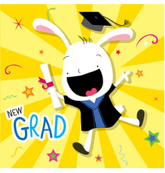 Rabbit animal congratulation new graduate cute car vector